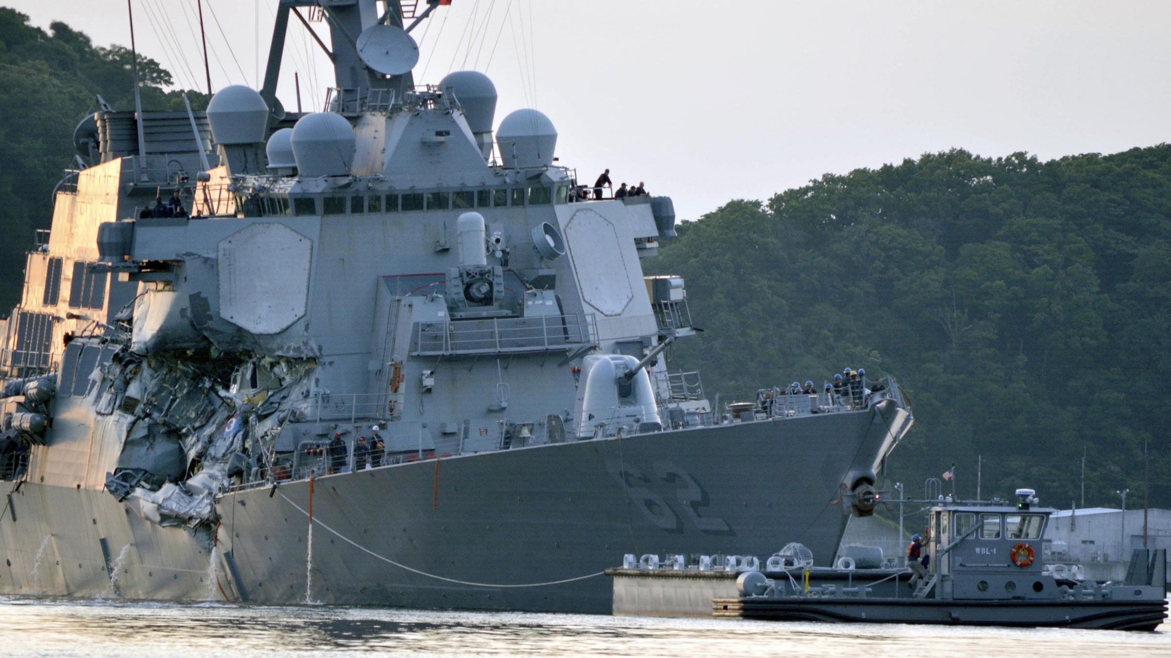 US Navy says destroyer collided at 2:20 am
